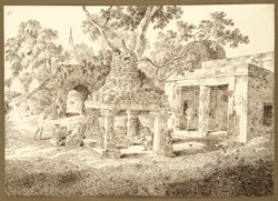 A small temple, covering the footprints of the Buddha, near the Mahabodhi temple, Bodhgaya (Bihar). 27 December 1824